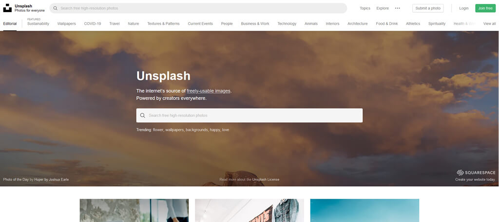 Unsplash - free stock photo website