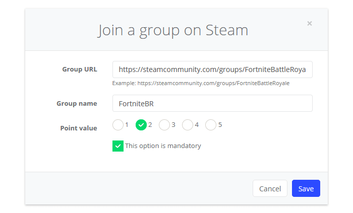 Join a group on Steam